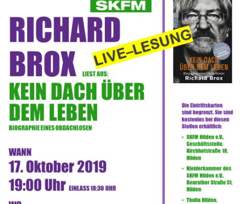 """Live-Lesung – Richard Brox """"Kein Dach über dem Leben"""""""